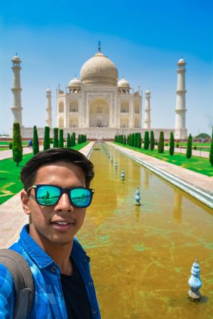 Selfie with Tajmahal in a sunny day. #SelfieWithAView #TripotoCommunity