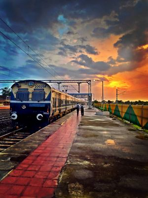 Jalgaon junction at sunset.