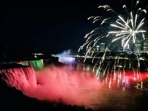 The most beautiful display of fireworks at Niagara Falls.