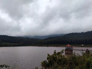Serene lake on backdrop of Mullayanagiri Hills