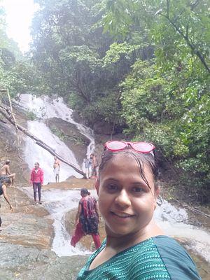 The first trek of my life - Kodachadri. View of waterfall. #SelfieWithAView  #TripotoCommunity