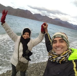 Benefits of having a traveller MOM. Evening @ Pangong lake. #SelfieWithAView  #TripotoCommunity