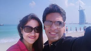 #Selfiewithaview#TripotoCommunity Sandy Beaches Serene and magical view with a Glimpse of Burj Al Ar