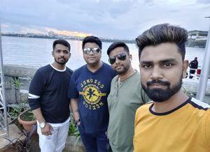 #SelfieWithAView #TripotoCommunity Sunset view hussain sagar lake hyderabad