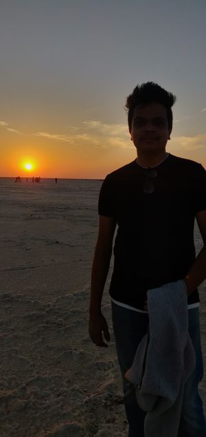 Mesmarizing view of sunset at the great white rann.