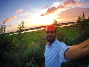 Selfie with beautifull sunset of an village of bihar