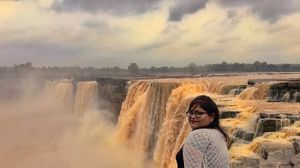 At the edge of the Chitrakut waterfall in the Bastar district of Chattisgarh!