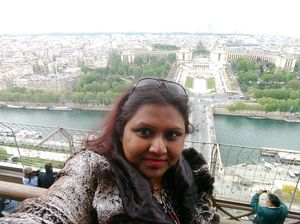 #selfiewithaview #tripotocommunity  ... Top of tower view of River Seine and Paris..