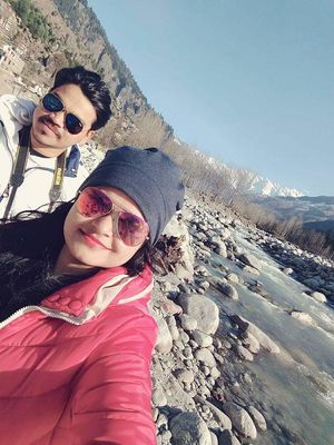 Selfie with the Vyas River & The snow capped Himalayas ???? #SelfieWithAView #TripotoCommunity