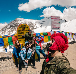 Khardungla with my crazy gang . #SelfieWithAView and #TripotoCommunity