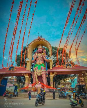 Hanuman Statue .Kote Anjaneya is a temple of Hanuman located in Tumkur, Karnataka. 75 feet tall