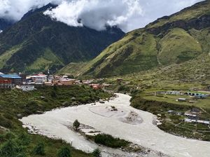 Badrinath town in Uttrakhand State of India
