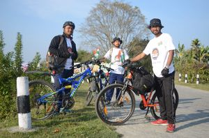 Cycling to world's largest river island Majuli