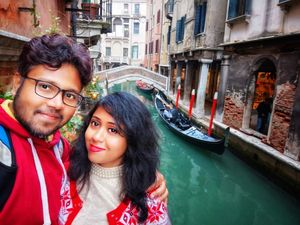 Selfie at Venice, with gondola at backdrop #SelfieWithAView  #TripotoCommunity