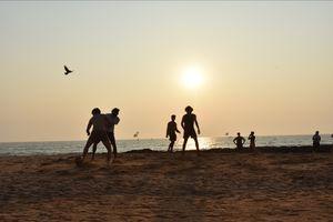Beautiful sunset at Anjuna beach
