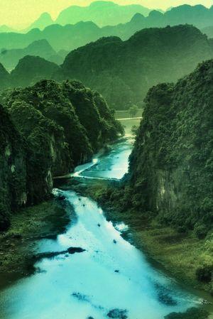 Surreal mysterious limestone karsts of Vietnam