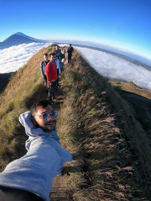 Hey #Tripotocommunity here's my #SelfieWithAView of Mount Agung from the top of Mount Batur