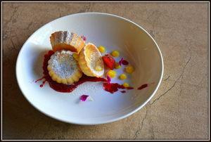 Deconstructed lemon tart ???? with raspberry splash @ farzi Cafe is a beauty by itself !!