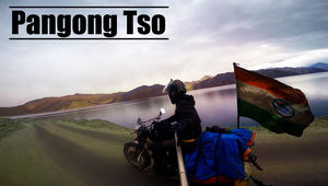 Pangong Tso - A view of a Rider
