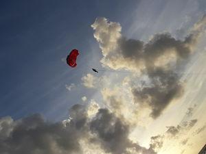 Red heart in blue sky