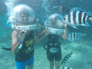 Under water walking with beautiful sea creatures in Mauritius! #adventureactivity