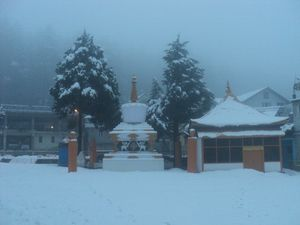 This is how the Nyingmapa Buddhist Temple at Manali looks like during winters!