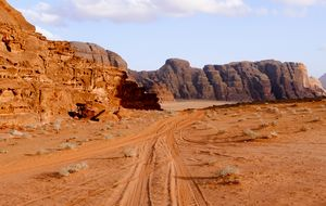 Walking in the moon in the land of Martian in Wadi Rum, Jordan