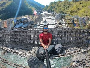 Have you been to this 600 year old Chakzam Bridge in Tawang? #selfiewithaview #TripotoCommunity