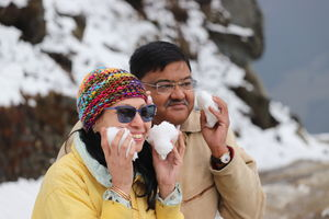 My mother's first meeting with Snow. Dalhousie Trek! Mcleodganj a hidden beauty , Dharamshala Wow!