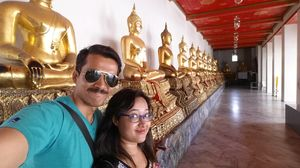 At thailand Wat pho temple on our 1st honeymoon. #SelfieWithAView #TripotoCommunity