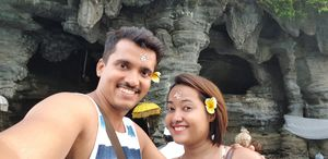 At Tanah lot temple, Bali. #SelfieWithAView #TripotoCommunity