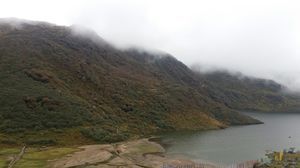 A beautiful view near tsongmo lake-Gangtok. Hills touching clouds. Greenery. Reminding Moana movie.