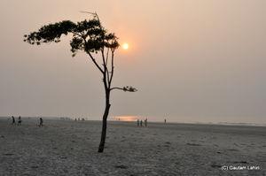 Bakkhali, oneness of river, sand and sea under the crimson sun