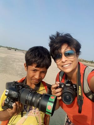 Selfie with a 10 year old Photographer at Inanni Beach # SelfieWithAView and #TripotoCommunity