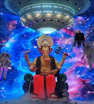 Lots of Modaks(kind of desert) and Malaas(Garlends).. Coz Bappa (welcome Lord Ganesha)Alla ..