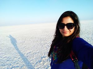 Where the blue sky meet the white salt desert #SelfieWithAView #TripotoCommunity