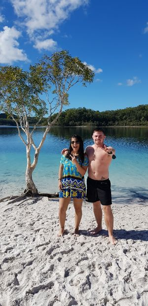The clearest water I have ever seen at Lake McKenzie on Frazer island with my friend from Ireland.