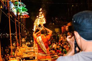 Ganga Aarti @Varanasi Ghat on the eve of holi: Picturesque