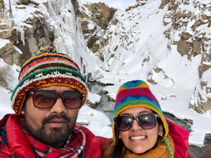Casually clicking selfie near a frozen waterfall in -18 degree. #SelfieWithAView #TripotoCommunity
