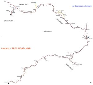 Lahaul Spiti Road Map with Petrol Pump details