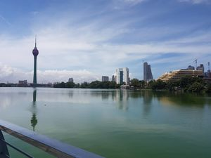 Beira Lake in Colombo has a natural greenish hue which makes for a beautiful contrast with the sky.