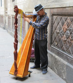 #BestTravelPictures - People: Street performer playing a harp @tripotocommunity