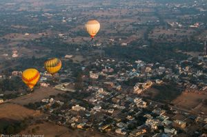 Hot Air Ballooning at Pushkar Fair, Rajasthan. India