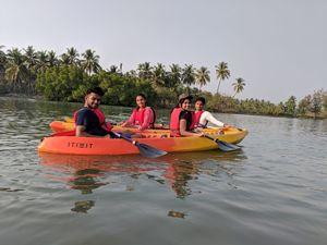 Kayak in the serene river Shambhavi