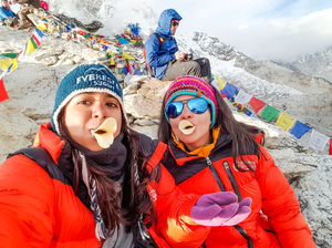 5,643 meters high, watching the sun set on Mount Everest! #SelfieWithAView #TripotoCommunity