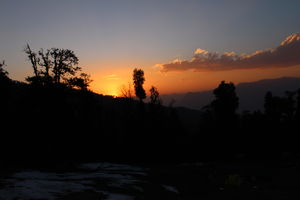 Sunset on Kedarkanth Trek Base Camp