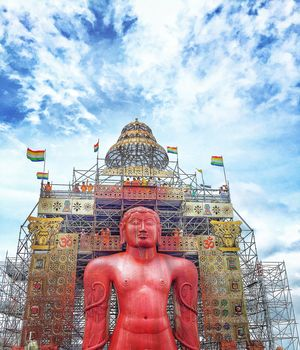 One of the seven wonders in India,the monolithic statue of Gomateshwara.