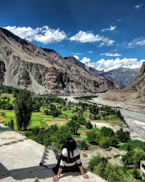 Hike views over tiny apricot farms at the last village of Ladakh. #tripotocommunity