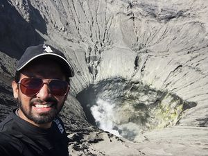 Atop the mighty Mount Bromo volcano crater!