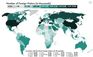 This map shows you which countries get the most tourists!